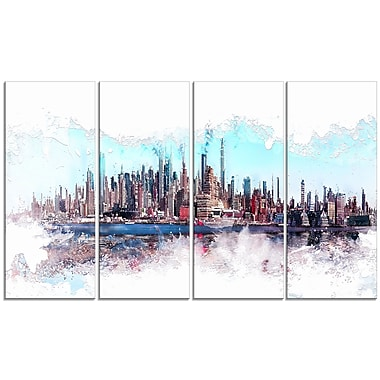 Designart In the Bay Cityscape Large Urban Canvas Art Print, (PT3319-271)