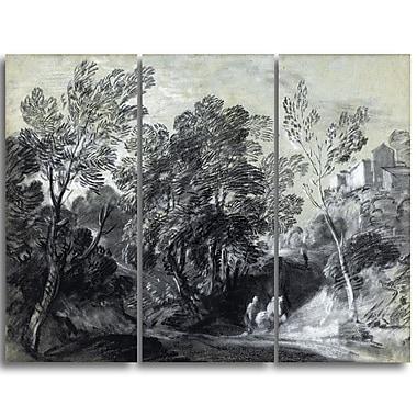 Designart Thomas Gainsborouh, Wooded Landscape with Figures Canvas Art Print, (PT4947-3P)