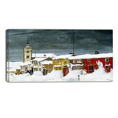 Designart Harald Sohlberg, Street in Roros in Winter Lansdcape Canvas Artwork, (PT4480-40-20)
