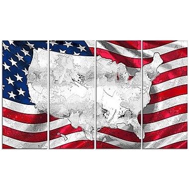 Designart Map and Flag of America 4-Panel Canvas Art Print, (PT2836-271)
