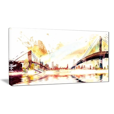 Designart Golden Bridges Cityscape Canvas Art Print, (PT3306-32-16)