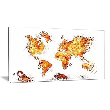 Designart Orange Map Canvas Art Print, (PT2708-4-32-16)