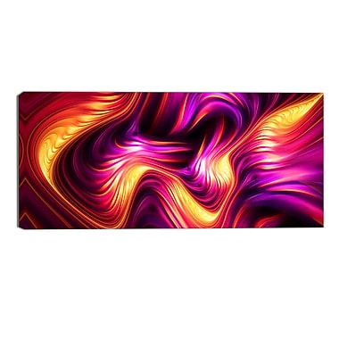 Designart Pink and Orange Fluidity Contemporary Canvas Art Print, (PT3066-32-16)