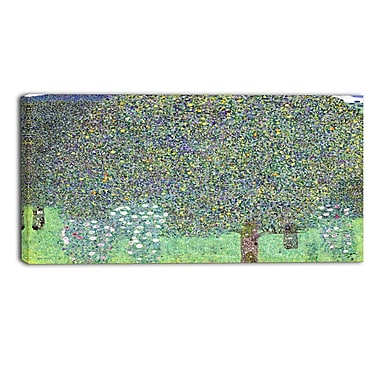 Designart Gustav Klimt, Rosebushes Under the Trees Canvas Art Print, (PT4457-32-16)