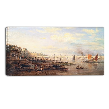 Designart Frederick Nash, The Thames and Waterloo Bridge Canvas Art Print, (PT4400-32-16)