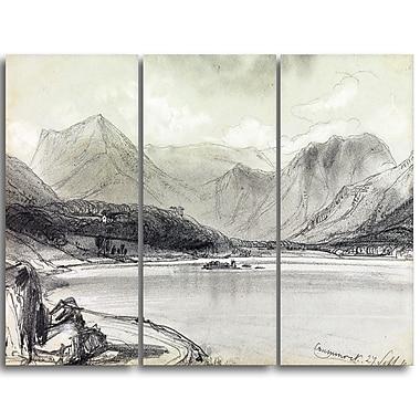 Designart – Imprimé sur toile, Le lac Crummock d'Edward Lear (PT4336-3P)
