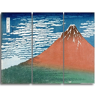 Designart Katsushika Hokusai, Fine Wind, Clear Weather Large Asian Canvas Art, (PT4689-3P)