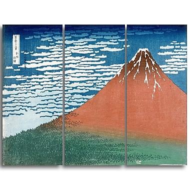 Designart – Katsushika Hokusai, vent doux et temps clair, art asiatique imprimé sur grande toile (PT4689-3P)
