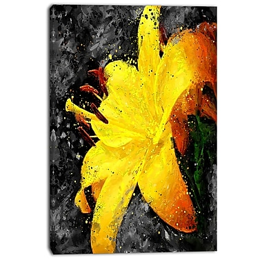 Designart Yellow Lily Floral Canvas Art Print, (PT3444-24-40)