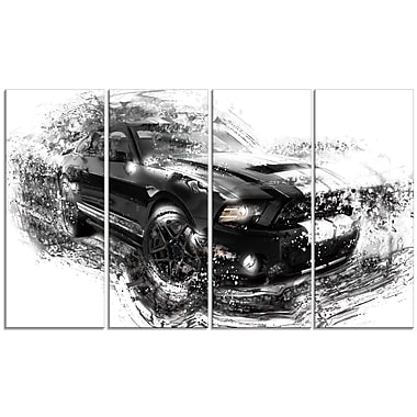 Designart Black and White Muscle Car, 4 Piece Gallery-Wrapped Canvas, (PT2650-271)