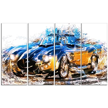 Designart Blue and Orange Roadster Large Gallery Wrapped Canvas, (PT2603-271)