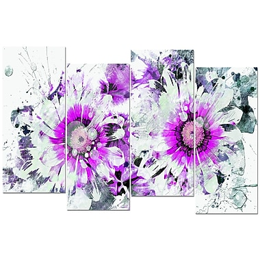 Designart Purple and White Daisies 4-Panel Canvas Art Print, (PT3407-2-271)