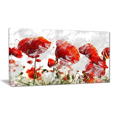 Designart Orange Red Flower Buds Canvas Art Print, (PT3432-32-16)