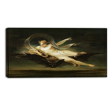 Designart Henry Singleton, Ariel on a Bats Back Religious Canvas Art Prints, (PT4498-32-16)