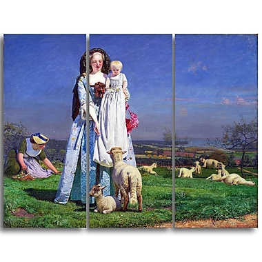 Designart Ford Madox Brown, Pretty Baa-Lambs Landscape Canvas Art Print, (PT4377-3P)