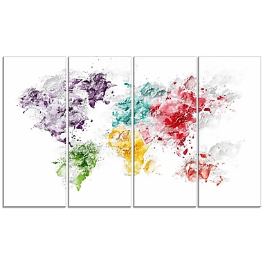 Designart Colour Splash World Map Canvas Art Print, (PT2739-271)