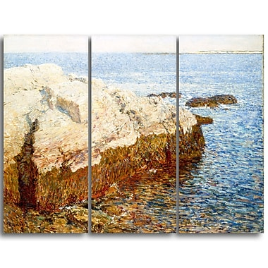 Designart Childe Hassam, Cliff Rock, Appledore Lansdcape Canvas Artwork, (PT4485-3P)