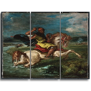 Designart Eugene Delacroix, Horseman Crossing a Ford Canvas Art Print, 3 Panels, (PT4363-3P)