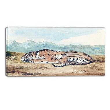 Designart – Imprimé sur toile, paysage, Tigre royal, Eugène Delacroix (PT4364-32-16)