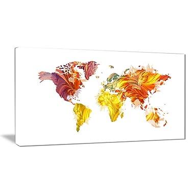 Designart – Carte du monde en couleurs chaudes, imprimé sur toile (PT2720-32-16)
