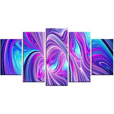 Designart Purple and Blue Wonder 5-Panel Contemporary Canvas Art Print, (PT3070-373)