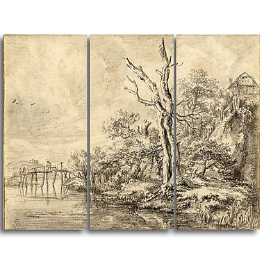 Designart Jacob van Ruisdael, Dead Tree by a Stream Canvas Art Print, (PT4527-3P)