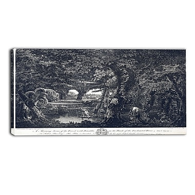 Designart Edward Rooker, A Morning Scene of the Forest Landscape Canvas Art Print, (PT4343-32-16)