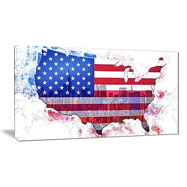 Designart American City Map Art Canvas Art, (PT2829-32-16)