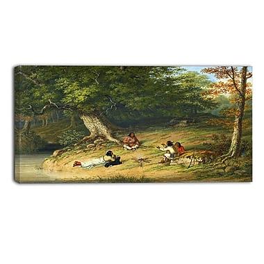 Designart – Tableau paysage imprimé sur toile, Repos de mi-journée de Cornelius Krieghoff (PT4272-32-16)
