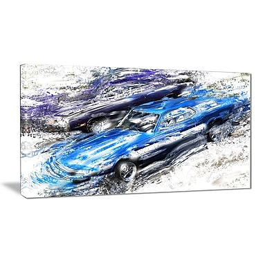 Designart Blue and Purple Muscle Cars Canvas Art Print, (PT2658-32-16)