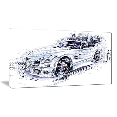 Designart – Voiture décapotable blanche, petite toile de style galerie (PT2611-32x16)