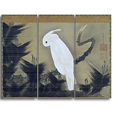 Designart Ito Jakuchu, White Cockatoo on a Pine Branch Animal Canvas Art, (PT4516-3P)