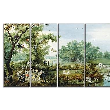 Designart Adriaen van de Venne, Merry Company in an Arbor Canvas Art Print, 4 Panels, (PT4106-271)