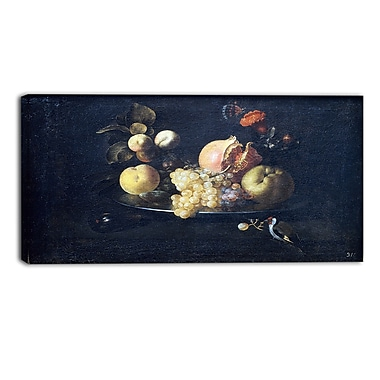 Designart Juan De Zurbarn, Still Life with Fruit and Goldfinch Canvas Art Print, 3 Panels, (PT4675-32-16)