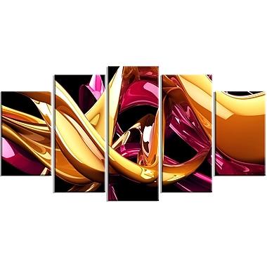 Designart – Impression sur toile, structure dorée, 5 panneaux, art abstrait (PT3090-373)