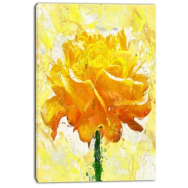 Designart Yellow Rose Floral Canvas Art Print, (PT3438-24-40)