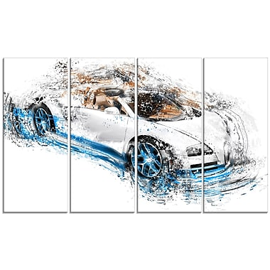Designart White and Blue Convertible, 4 Piece Gallery-Wrapped Canvas, (PT2641-271)