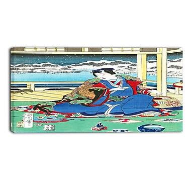 Designart – Grande toile asiatique imprimée, Genji regardant la neige d'un balcon, Toyohara Kunichika (PT4977-32-16)