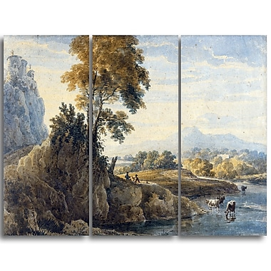 Designart Thomas Girtin, Romantic Landscape Canvas Art Print, (PT4962-3P)