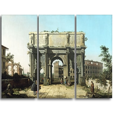Designart Canaletto, View of the Arch of Constantine Landscape Canvas Arwork, (PT4198-3P)