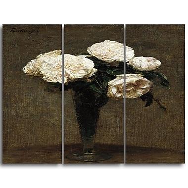 Designart Henri Fantin Latour, Roses in a Vase Canvas Art Print, 3 Panels, (PT4492-3P)