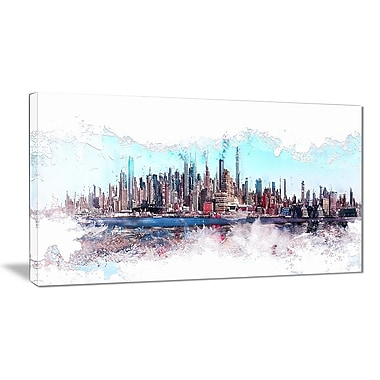 Designart In the Bay Cityscape Large Urban Canvas Art Print, (PT3319-32-16)