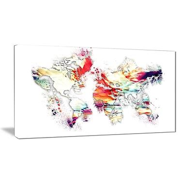 Designart – Imprimé sur toile, carte du monde colorée (PT2730-32-16)