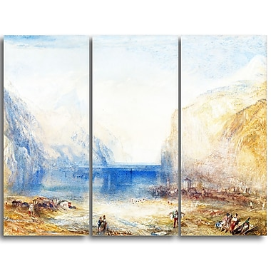 Designart JMW Turner, Fluelen Morning Sea & Shore Canvas Art Print, (PT4608-3P)
