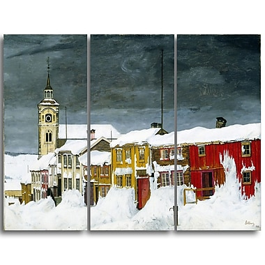Designart Harald Sohlberg, Street in Roros in Winter Lansdcape Canvas Artwork, (PT4480-3P)