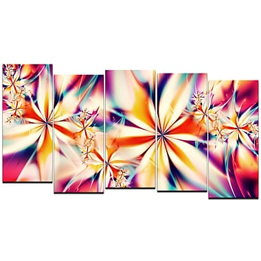 Designart Crystalize Pink 5-Panel Abstract Canvas Art Print, (PT3013-1084)