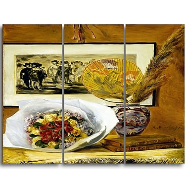 Designart Pierre-Auguste Renoir, Still Life with Bouquet Canvas Art Print, 3 Panels, (PT4853-3P)