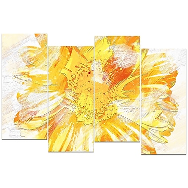Designart Yellow Flower 4-Panel Canvas Art Print, (PT3420-2-271)