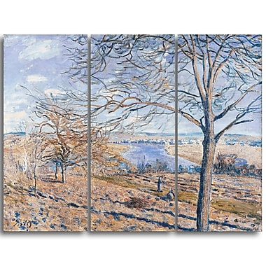 Designart Alferd Sisley, Banks of the Loing Canvas Art Print, 3 Panels, (PT4124-3P)