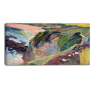 Designart Paul Gauguin, The Flageolet Player on the Cliff Landscape Canvas Art Print, (PT4410-40-20)
